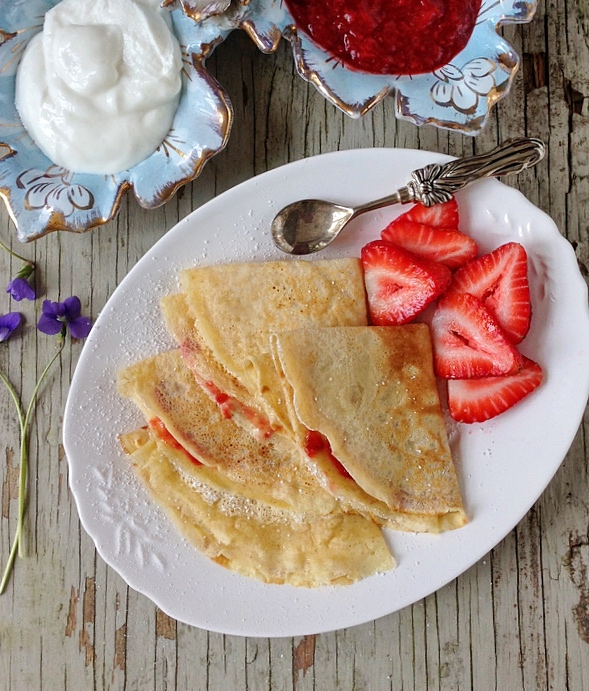 Peanut Butter Crepes with Strawberry Sauce via LizsHealthyTable.com