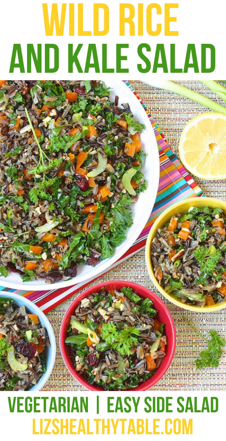 Wild Rice and Kale Salad via LizsHealthyTable.com