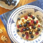 Morning Oats with Concord Grapes, Walnuts, and Dried Cranberries