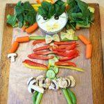 Rainbow Vegetable Dip + How to Make a Halloween Vegetable Skeleton