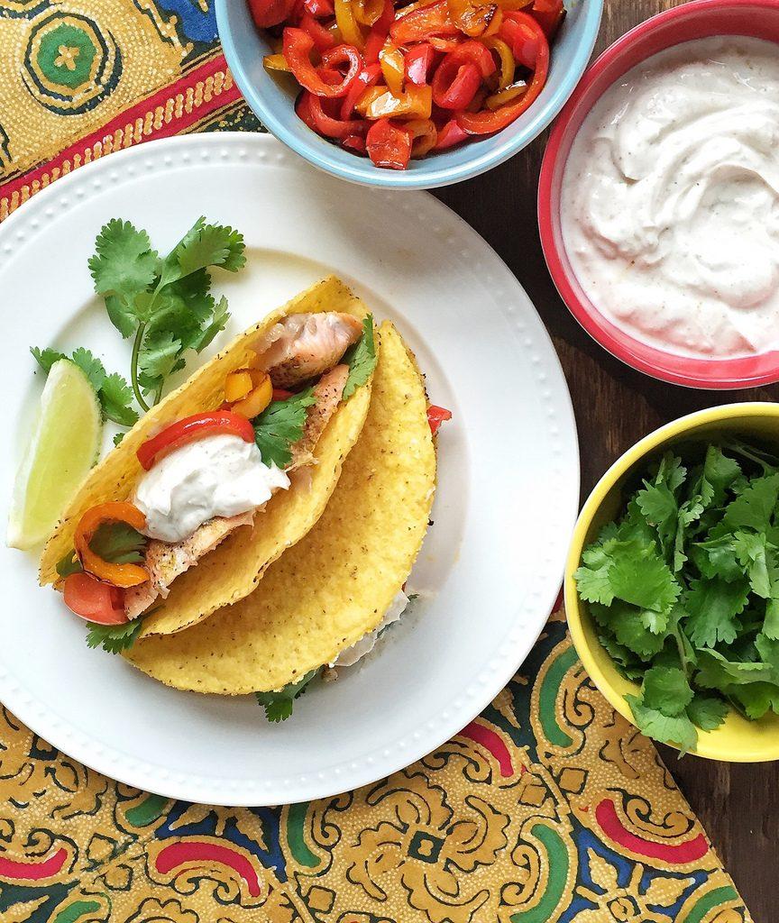 Smoky salmon tacos with greek yogurt sauce for Greek yogurt fish taco sauce
