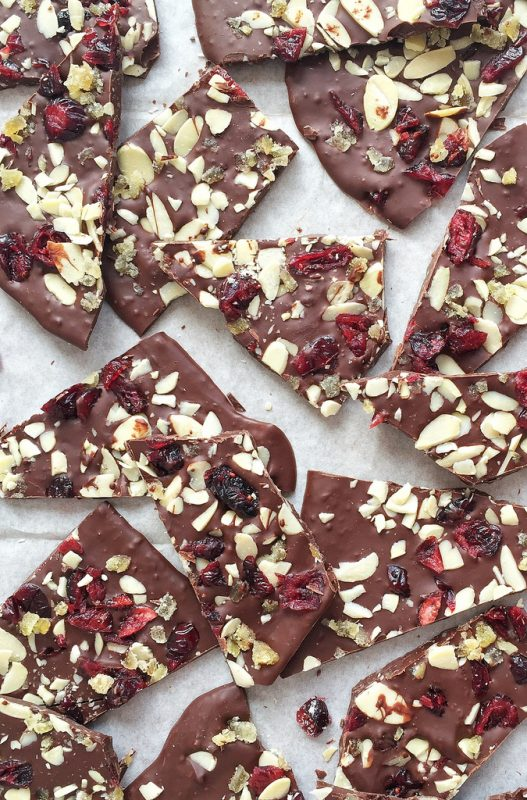 Chocolate Cranberry Bark via LizsHealthyTable.com