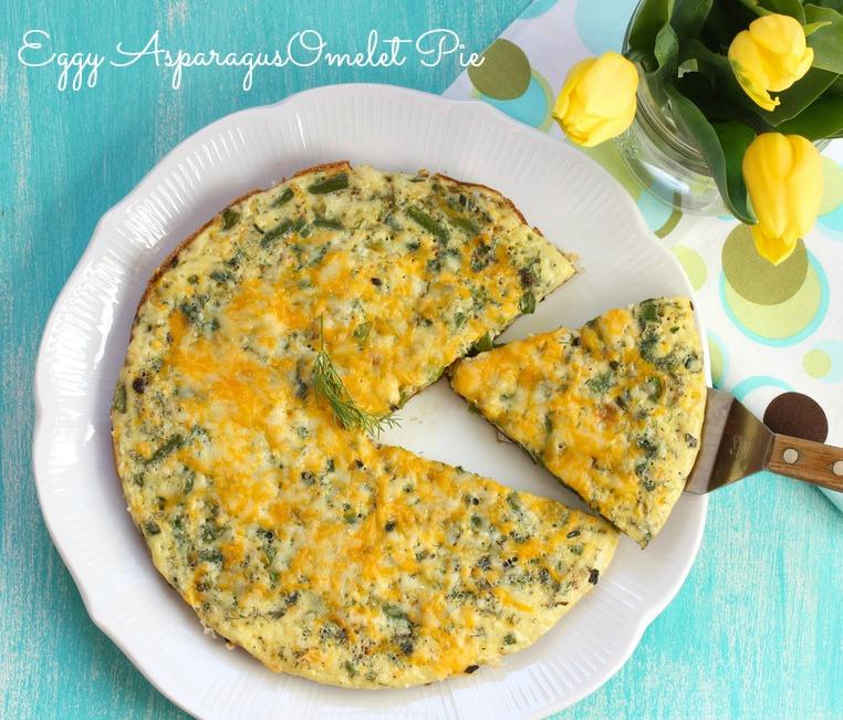 Eggy Asparagus Omelet Pie via LizsHealthyTable.com