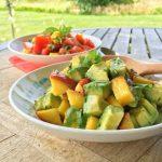 Peach and Avocado Sunshine Salad + Tomato Basil Salad with Mango