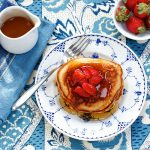 Strawberry-Topped Peanut Butter Pancakes