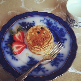 Silver Dollar Banana Blueberry Pancakes + Patriot's Day