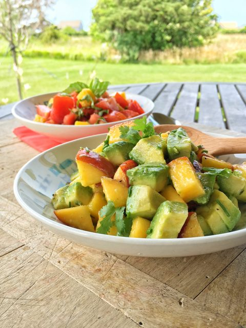Peach and Avocado Sunshine Salad via LizsHealthyTable.com