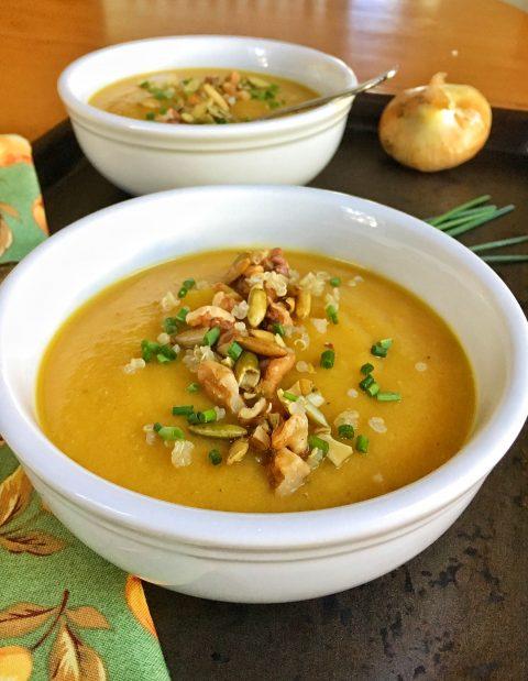 Autumn's Best Butternut Squash, Apple and Pear Soup via LizsHealthyTable.com