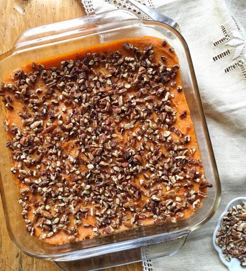 Pecan-Topped, Slightly-Sweet Sweet Potato Casserole via LizsHealthyTable.com