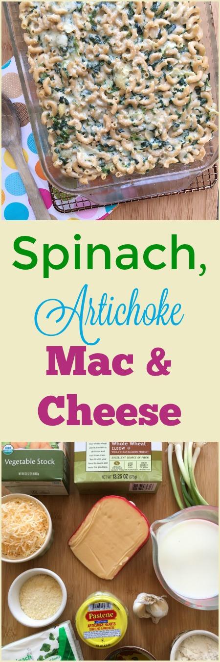 Spinach, Artichoke Mac & Cheese via MealMakeoverMoms.com/kitchen #dinner #pasta #wholegrain #spinach #healthy