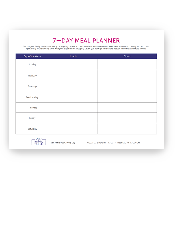seven day meal planner
