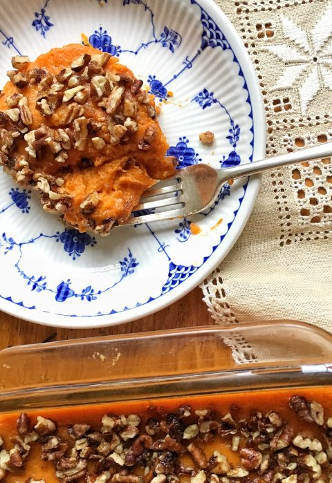 Pecan-Topped, Slightly-Sweet Sweet Potato Casserole via LizsHealthyTable.com