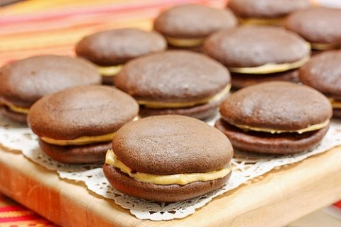 Chocolate Pumpkin Whoopie Pies via LizsHealthyTable.com #chocolate #dessert