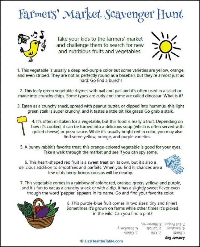 Farmers' Market Scavenger Hunt - FREE Printable via LizsHealthyTable.com