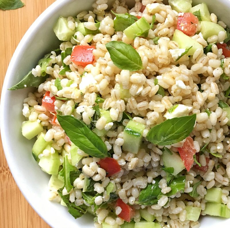 Barley Salad with Cucumbers, Tomatoes, and Arugula via lizshealthytable.com