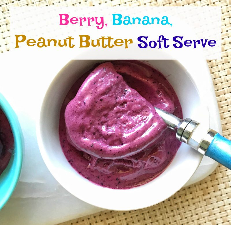 Berry, Banana, Peanut Butter Soft Serve via LizsHealthyTable.com
