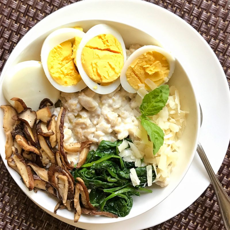 Savory Oats with Shitake Mushrooms, Baby Spinach, and Eggs via LizsHealthyTable.com #breakfast