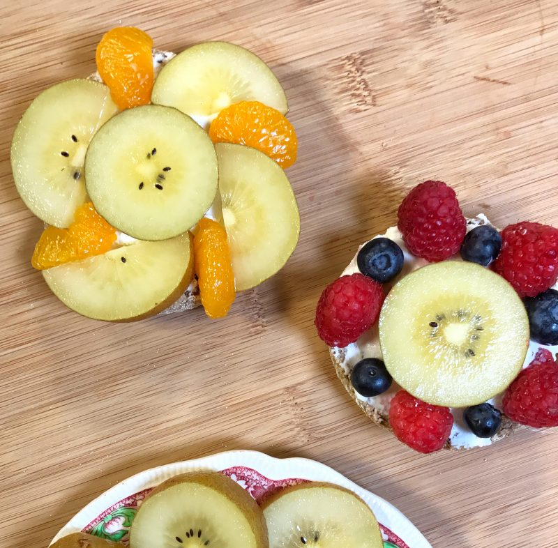 SunGold Flower Power Fruit Pizzas via LizsHealthyTable.com