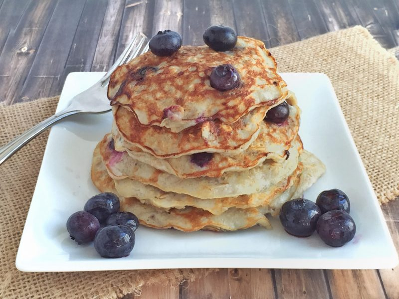 Blueberry Protein Pancakes from Lauren's cookbook #breakfast