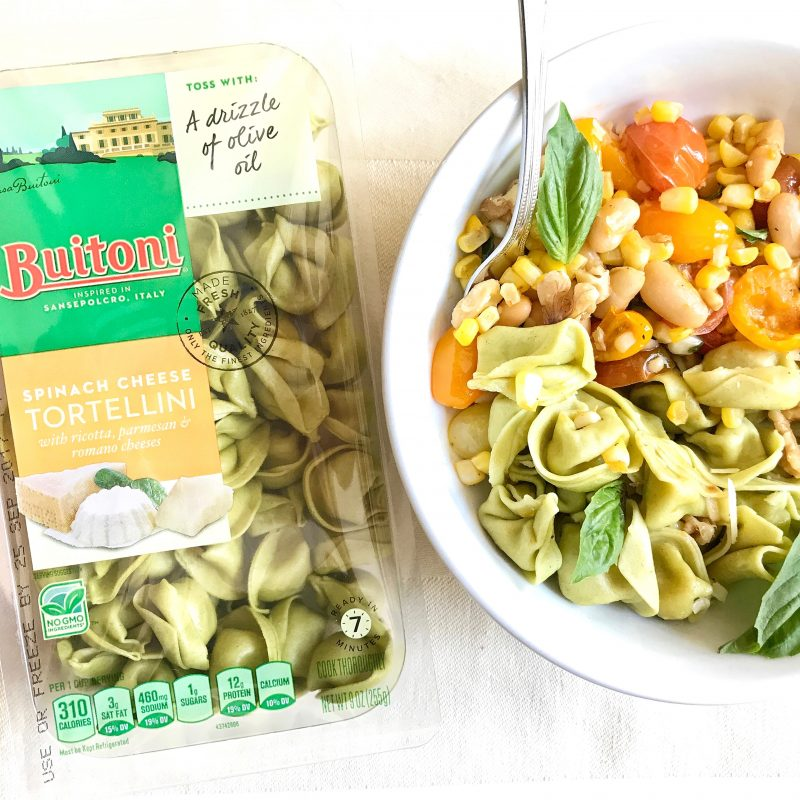 Tortellini topped with vegetables via LizsHealthyTable.com