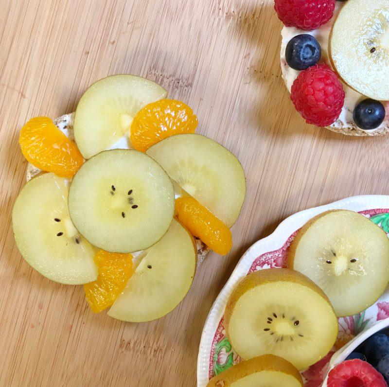 SunGold Flower Power Fruit Pizzas via LizsHealthyTable.com
