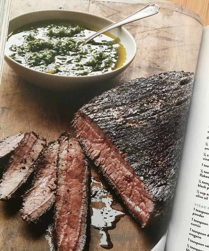 Grilled Flank Steak with Chimichurri Sauce via LizsHealthyTable.com