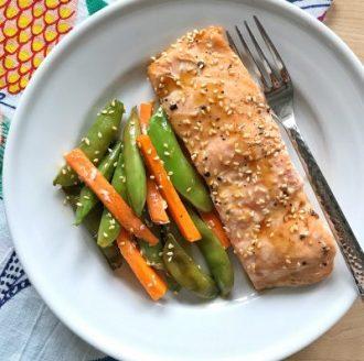 Teriyaki Salmon, Snow Peas, and Carrot Packets