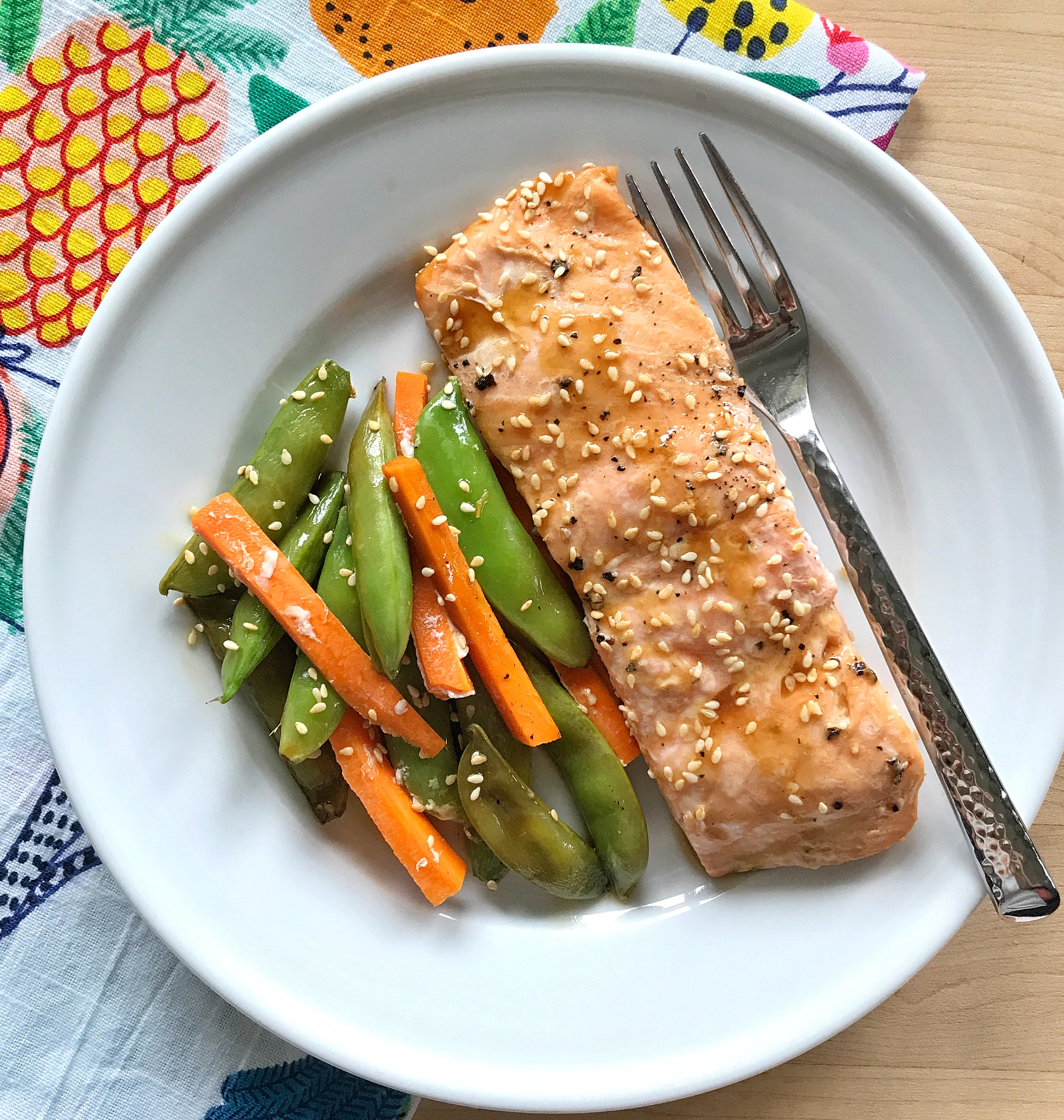 Teriyaki Salmon, Snow Pea, and Carrot Packets via LizsHealthyTable.com