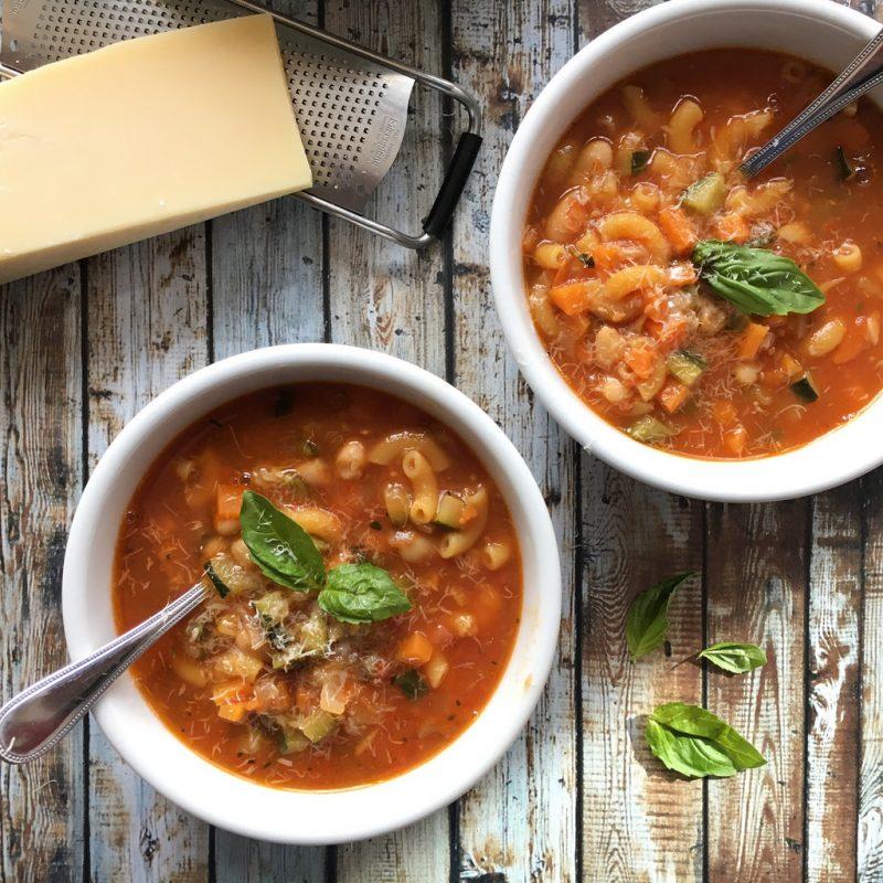 Macaroni Minestrone Soup via LizsHealthyTable.com