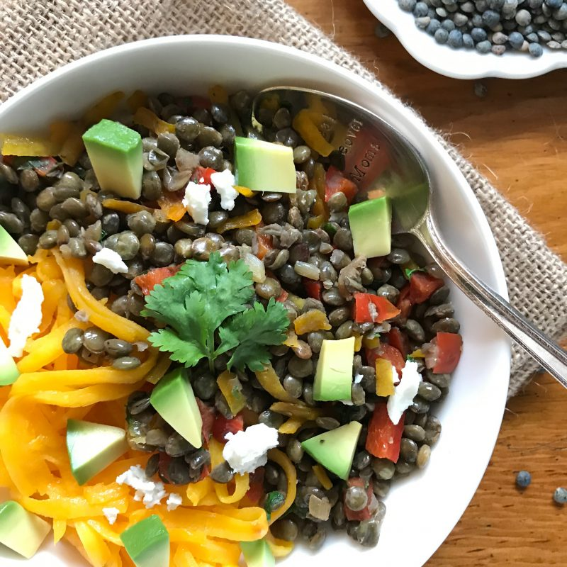 "Green Lentil and Butternut Squash ""Noodle"" Bowls via LizsHealthyTable.com #vegetarian #glutenfree #spiralized"