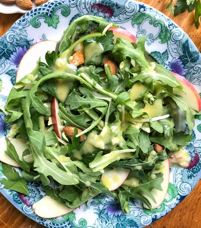 Arugula, Apple & Brussels Sprouts Salad with Lemon Shallot Vinaigrette via LizsHealthyTable.com #salad #vegetarian