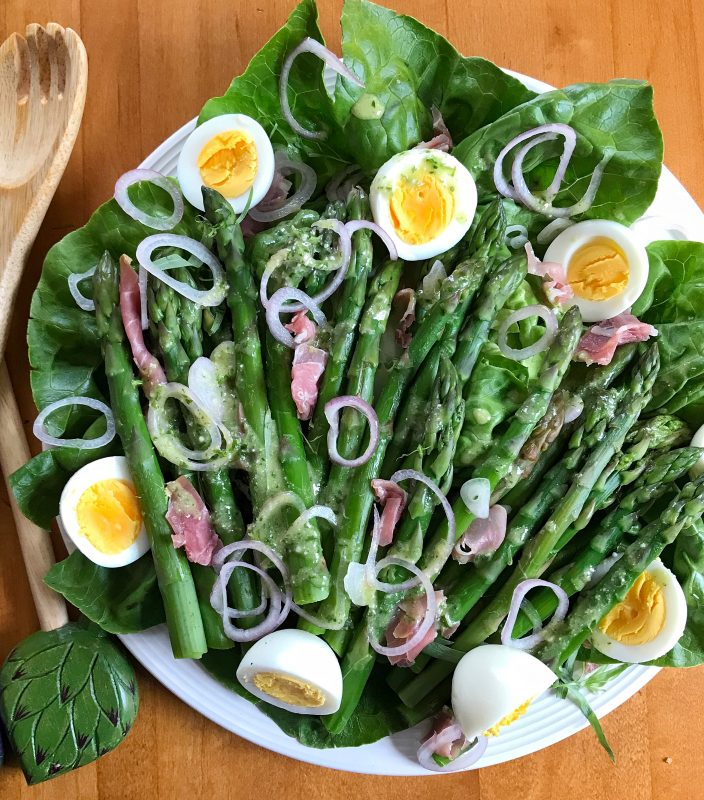 Asparagus Salad with Eggs and Prosciutto via LizsHealthyTable.com #salad