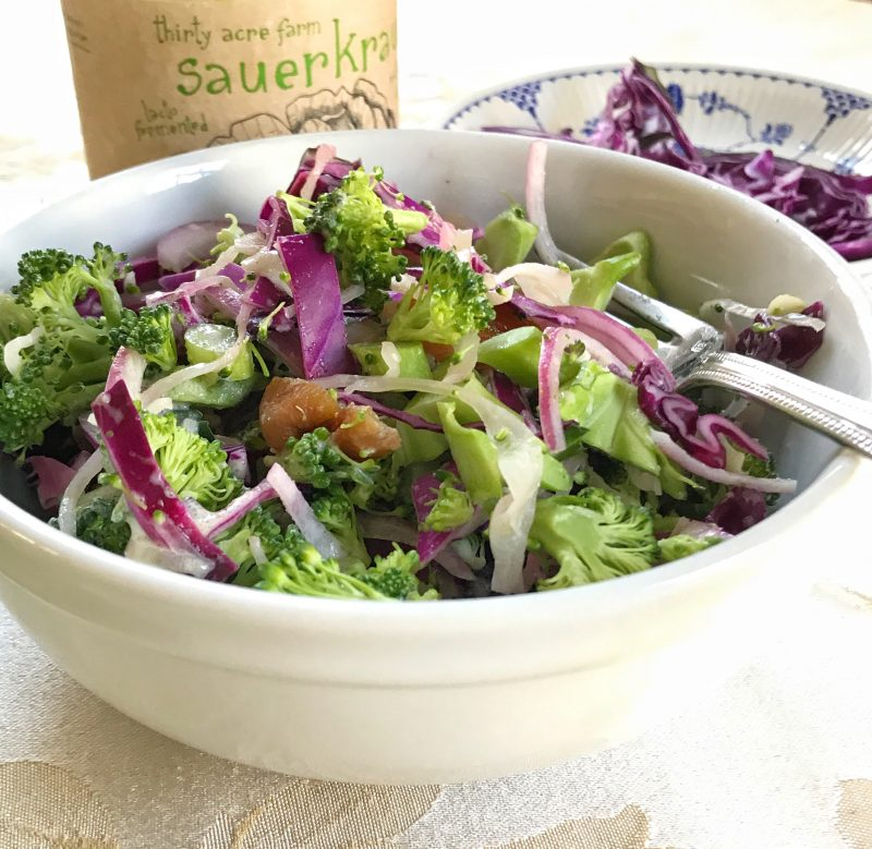 Broccoli and Kraut Slaw via lpzshealthytable.com #CookingLight