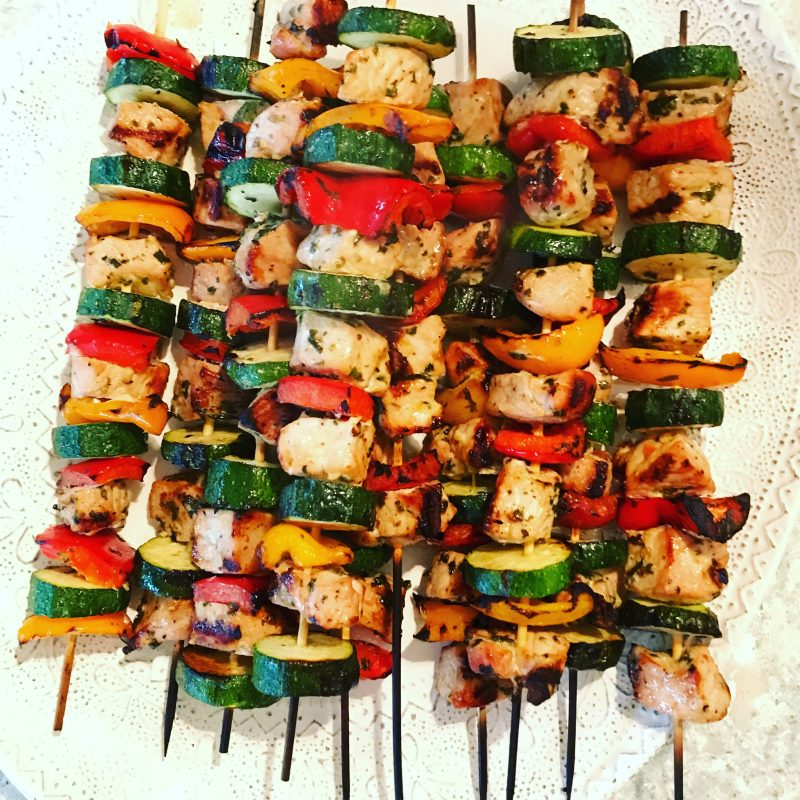Pork and Vegetable Kabobs via LizsHealthyTable.com