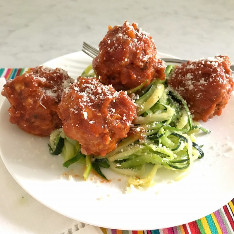 Zucchini Linguini with Meatballs via LizsHealthyTable.com #podcast #turkey