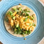 Scrambled Egg Tacos with Cilantro Lime Pumpkin Seed Drizzle