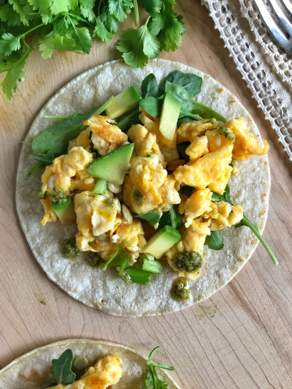 Scrambled Egg Tacos with Cilantro Lime Drizzle via LizsHealthyTable #eggenthusiast #eggsdinner