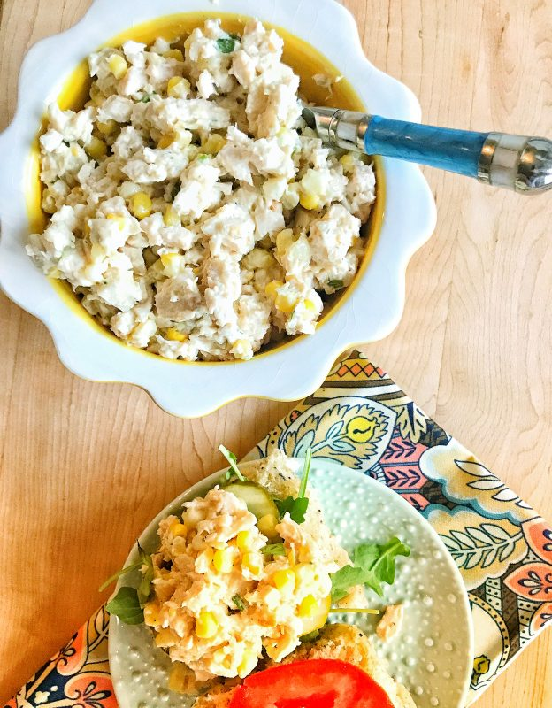 Chicken & Fresh Corn Salad via LizsHealthyTable.com