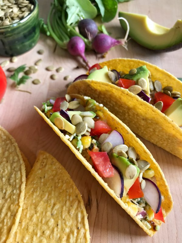 Mexican Grilled Corn Tacos via LizsHealthyTable.com #MeatlessMonday