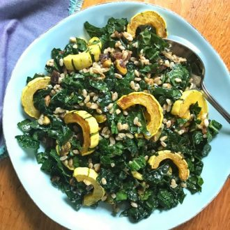 Kale Salad with Roasted Delicata Squash, Farro, Pistachios and Apricots