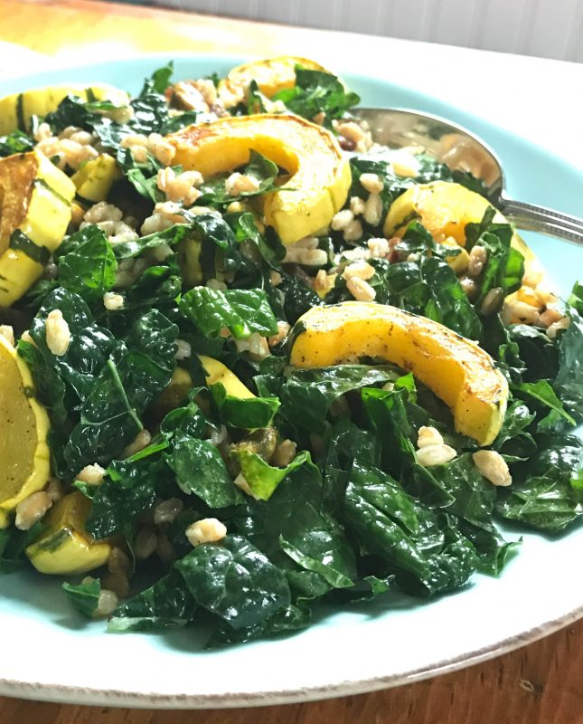 Kale salad with roasted delicata squash, farro, pistachios, and apricots via LizsHealthyTable.com