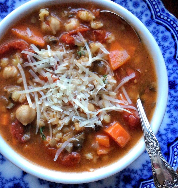 Barley, chickpea and carrot soup #InstantPot via LizsHealthyTable.com