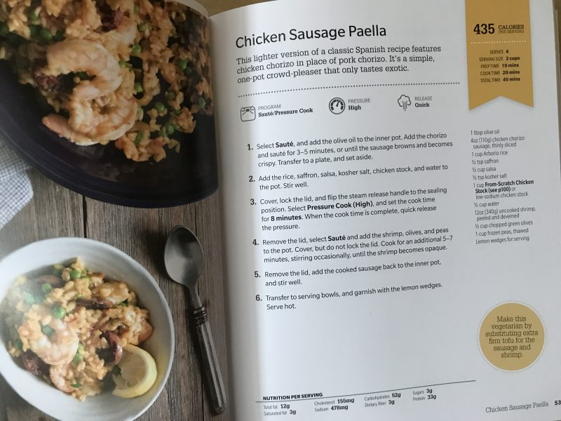 chicken sausage paella - Instant Pot via LizsHealthyTable.com #podcast