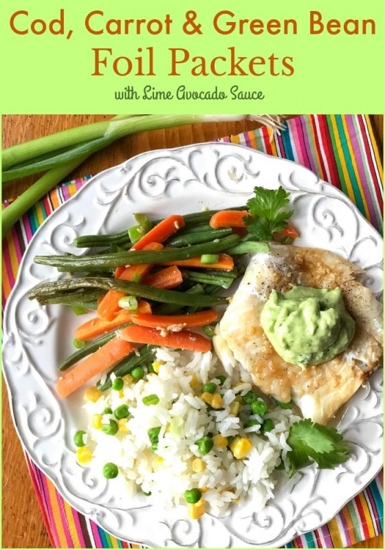 Cod, Carrot and Green Bean Foil Packets with lime avocado sauce via LizsHealthyTable.com