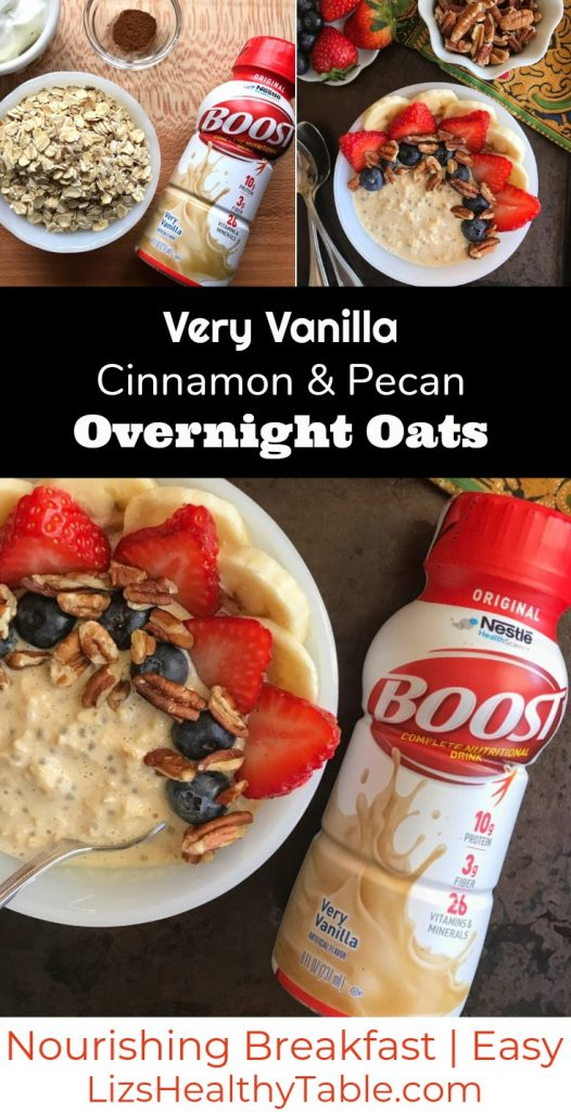 Very Vanilla Cinnamon & Pecan Overnight Oats via lizshealthytable.com