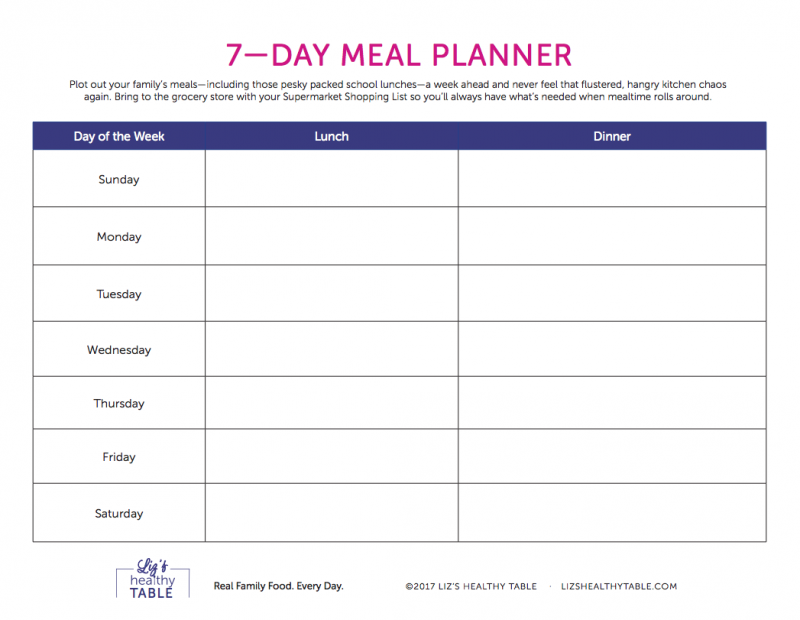 7 Day Meal Planner via lizshealthytable.com