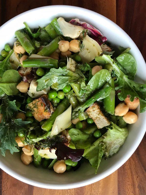 Spring Panzanella with Artichokes, Asparagus, Peas, and Lemon Dill Vinaigrette via LizsHealthyTable.com