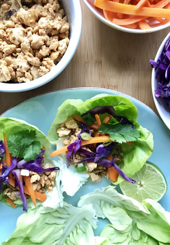 Tofu Lettuce Wraps via LizsHealthyTable.com #vegan #vegetarian #plantbased