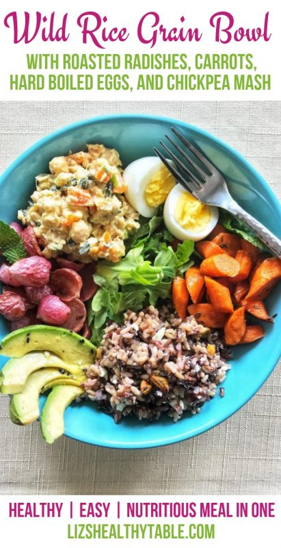 Wild Rice Grain Bowl with Roasted Radishes, Carrots, Hard Boiled Eggs, and Chickpea Mash via LizsHealthyTable.com