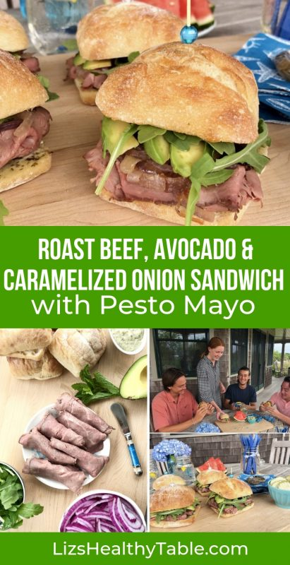 Roast Beef, Avocado & Caramelized Onion Sandwich with Pesto Mayo via LizsHealthyTable.com